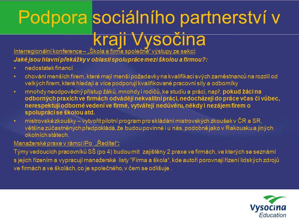 """Podpora sociálního partnerství v kraji Vysočina Interregionální konference – """"Škola a firma společně"""" výstupy ze sekcí: Jaké jsou hlavní překážky v ob"""