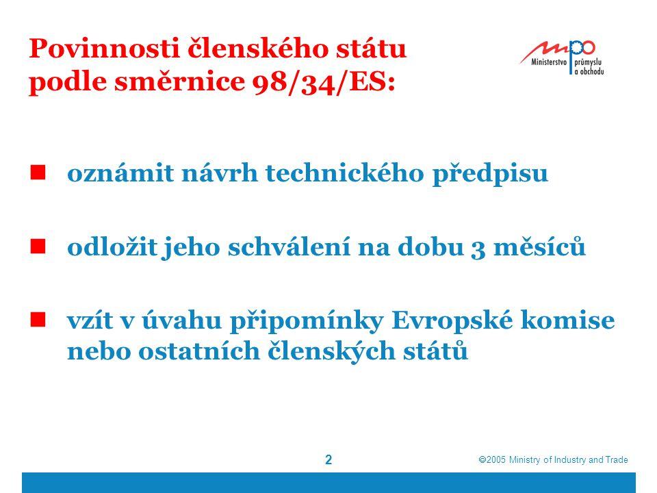  2005  Ministry of Industry and Trade 2 Povinnosti členského státu podle směrnice 98/34/ES: oznámit návrh technického předpisu odložit jeho schválení na dobu 3 měsíců vzít v úvahu připomínky Evropské komise nebo ostatních členských států