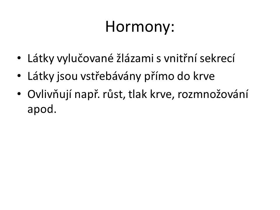 Hormony: Látky vylučované žlázami s vnitřní sekrecí Látky jsou vstřebávány přímo do krve Ovlivňují např.