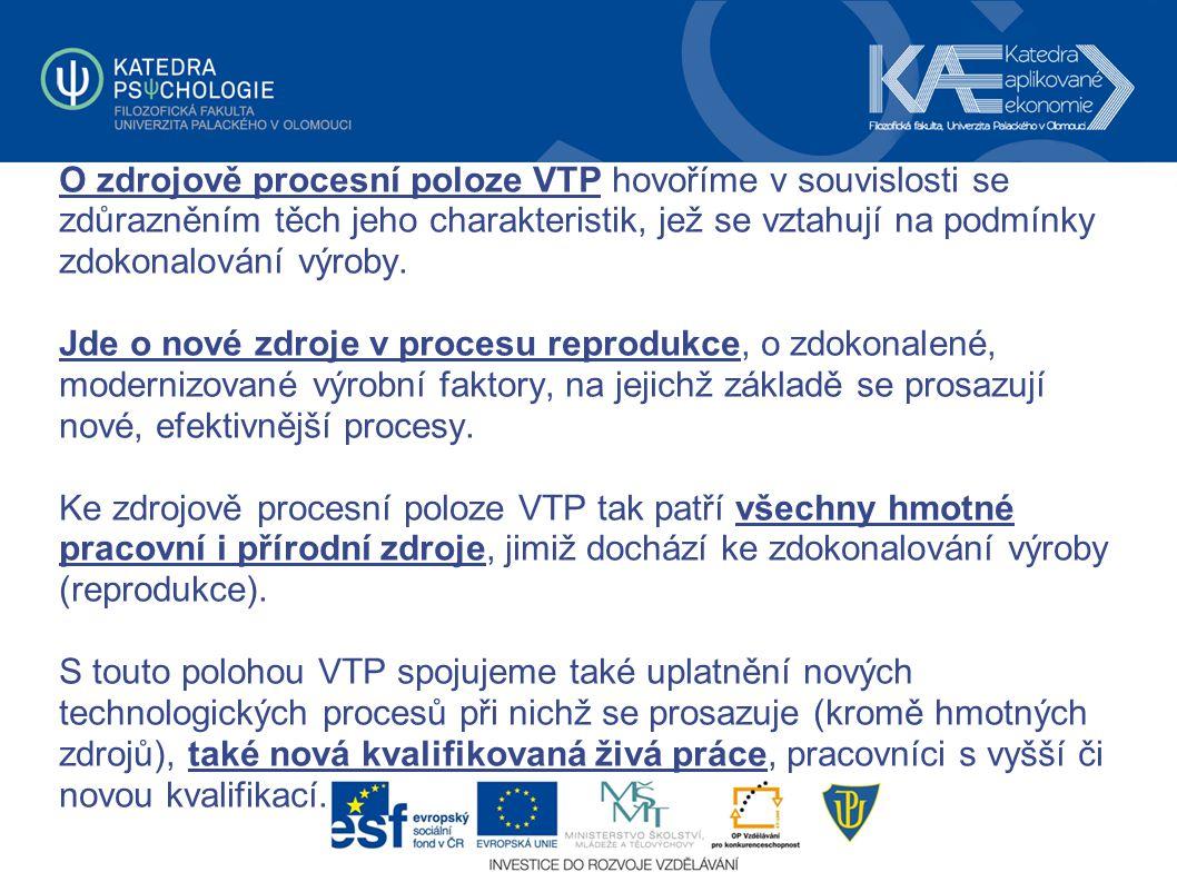 O zdrojově procesní poloze VTP hovoříme v souvislosti se zdůrazněním těch jeho charakteristik, jež se vztahují na podmínky zdokonalování výroby. Jde o