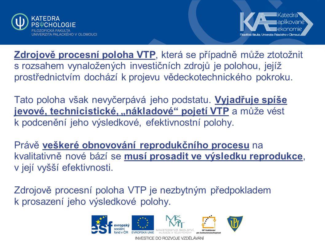 Zdrojově procesní poloha VTP, která se případně může ztotožnit s rozsahem vynaložených investičních zdrojů je polohou, jejíž prostřednictvím dochází k