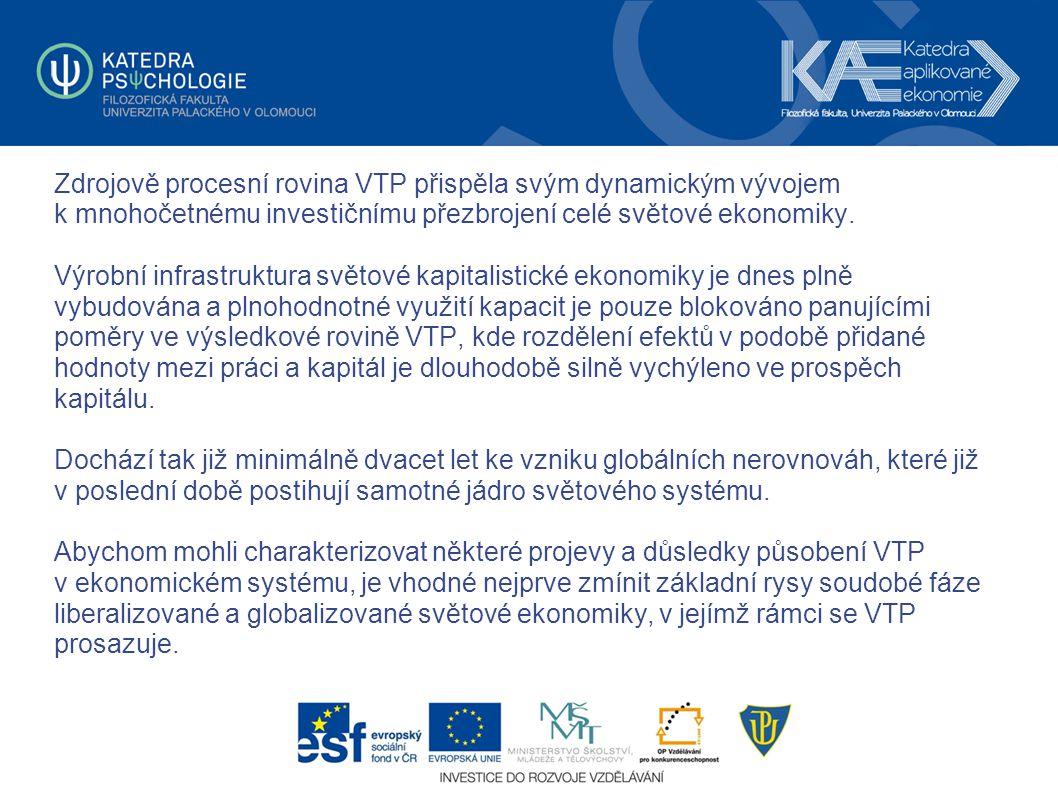Zdrojově procesní rovina VTP přispěla svým dynamickým vývojem k mnohočetnému investičnímu přezbrojení celé světové ekonomiky. Výrobní infrastruktura s
