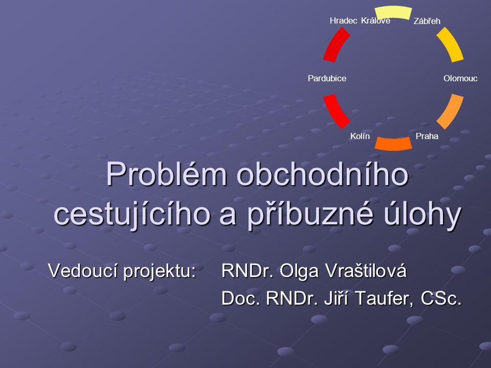 Problém obchodního cestujícího a příbuzné úlohy Vedoucí projektu:RNDr.