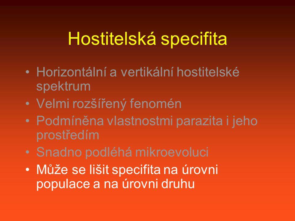 Hostitelská specifita Horizontální a vertikální hostitelské spektrum Velmi rozšířený fenomén Podmíněna vlastnostmi parazita i jeho prostředím Snadno podléhá mikroevoluci Může se lišit specifita na úrovni populace a na úrovni druhu