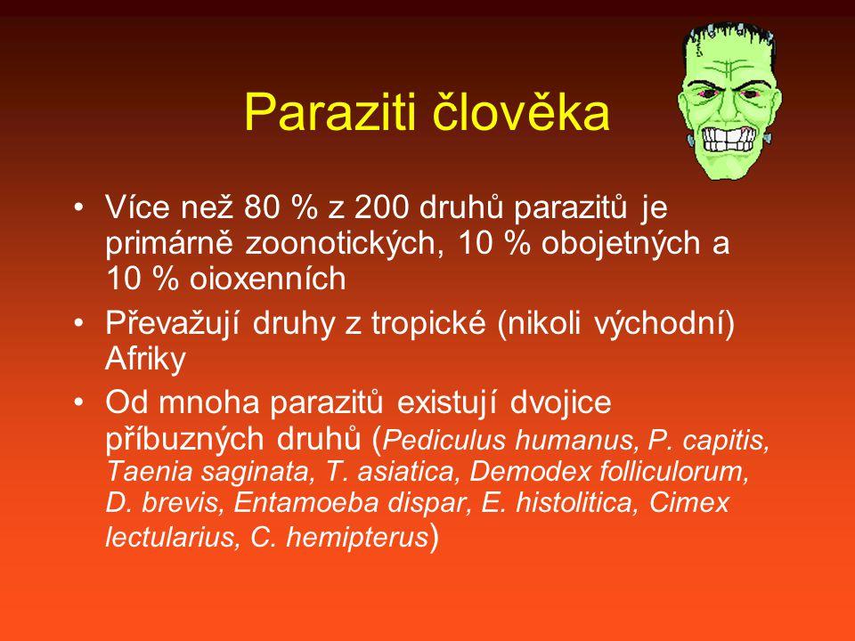 Paraziti člověka Více než 80 % z 200 druhů parazitů je primárně zoonotických, 10 % obojetných a 10 % oioxenních Převažují druhy z tropické (nikoli východní) Afriky Od mnoha parazitů existují dvojice příbuzných druhů ( Pediculus humanus, P.