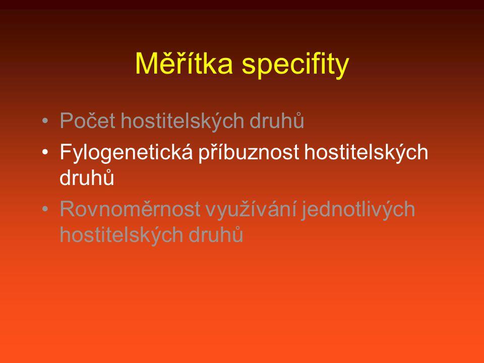 Měřítka specifity Počet hostitelských druhů Fylogenetická příbuznost hostitelských druhů Rovnoměrnost využívání jednotlivých hostitelských druhů