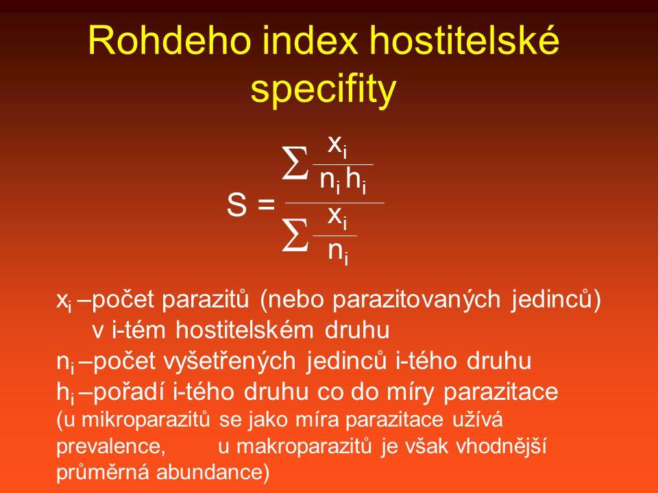 Rohdeho index hostitelské specifity S =  x i n i h i x i –počet parazitů (nebo parazitovaných jedinců) v i-tém hostitelském druhu n i –počet vyšetřených jedinců i-tého druhu h i –pořadí i-tého druhu co do míry parazitace (u mikroparazitů se jako míra parazitace užívá prevalence, u makroparazitů je však vhodnější průměrná abundance)  x i n i