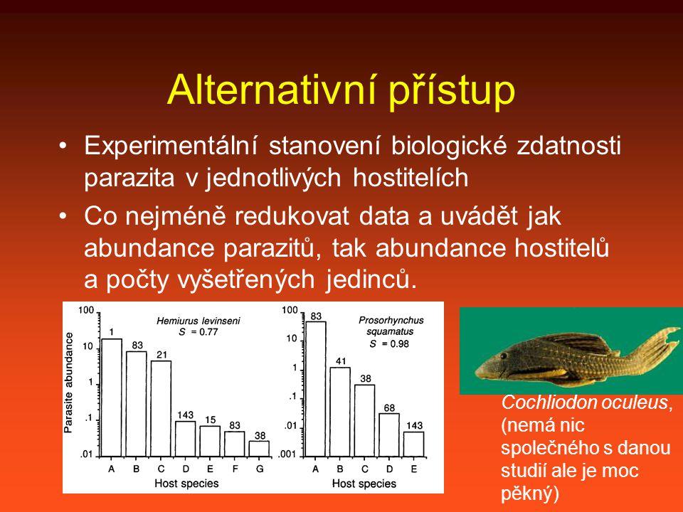 Alternativní přístup Experimentální stanovení biologické zdatnosti parazita v jednotlivých hostitelích Co nejméně redukovat data a uvádět jak abundance parazitů, tak abundance hostitelů a počty vyšetřených jedinců.