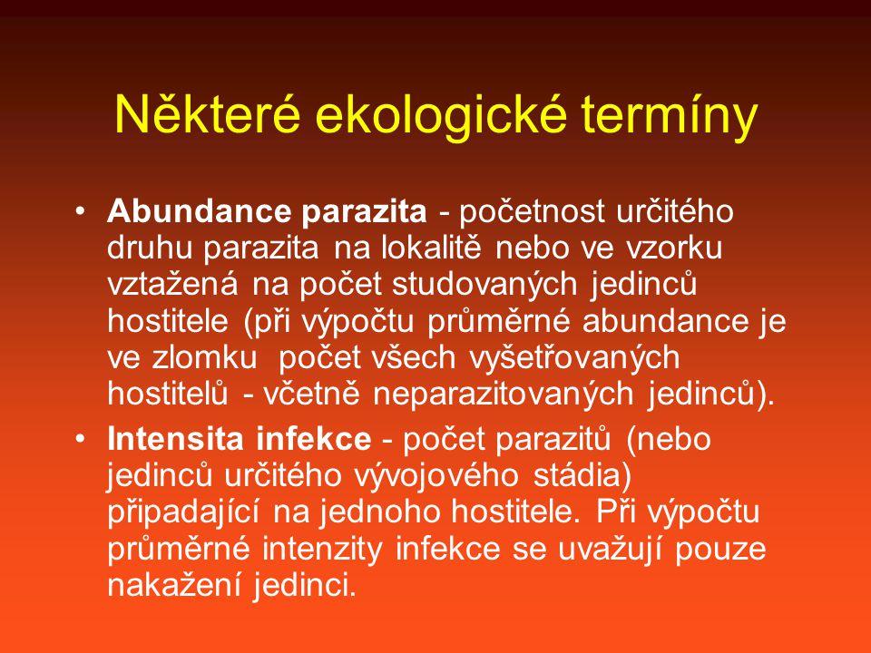 Některé ekologické termíny Abundance parazita - početnost určitého druhu parazita na lokalitě nebo ve vzorku vztažená na počet studovaných jedinců hostitele (při výpočtu průměrné abundance je ve zlomku počet všech vyšetřovaných hostitelů - včetně neparazitovaných jedinců).