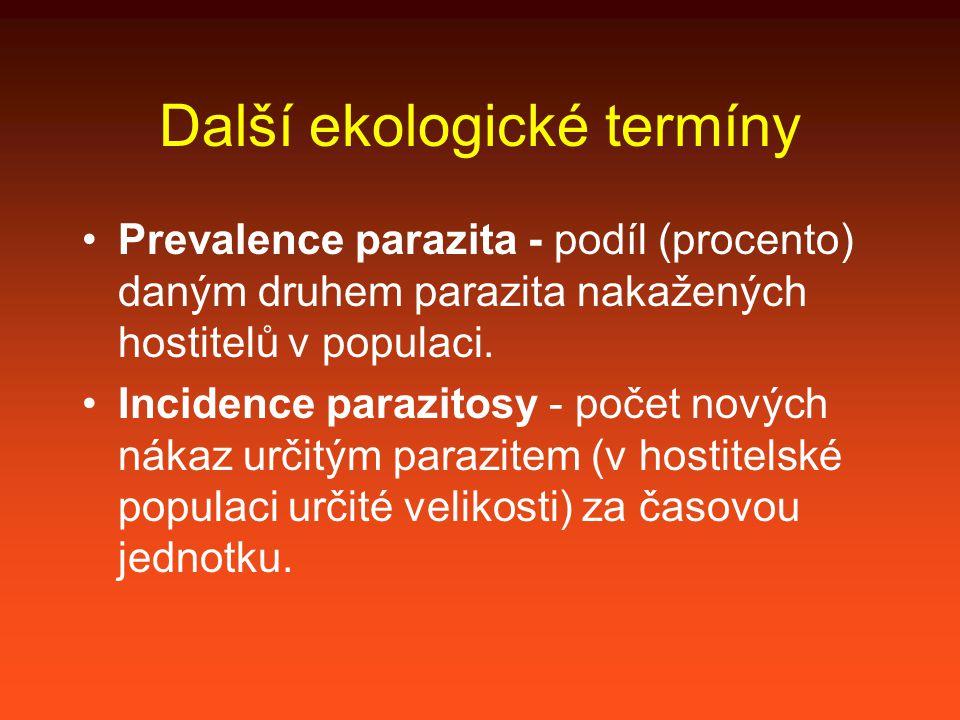 Další termíny parazitální zátěž jedince [parasite load] – počet parazitů všech druhů v daném jedinci.