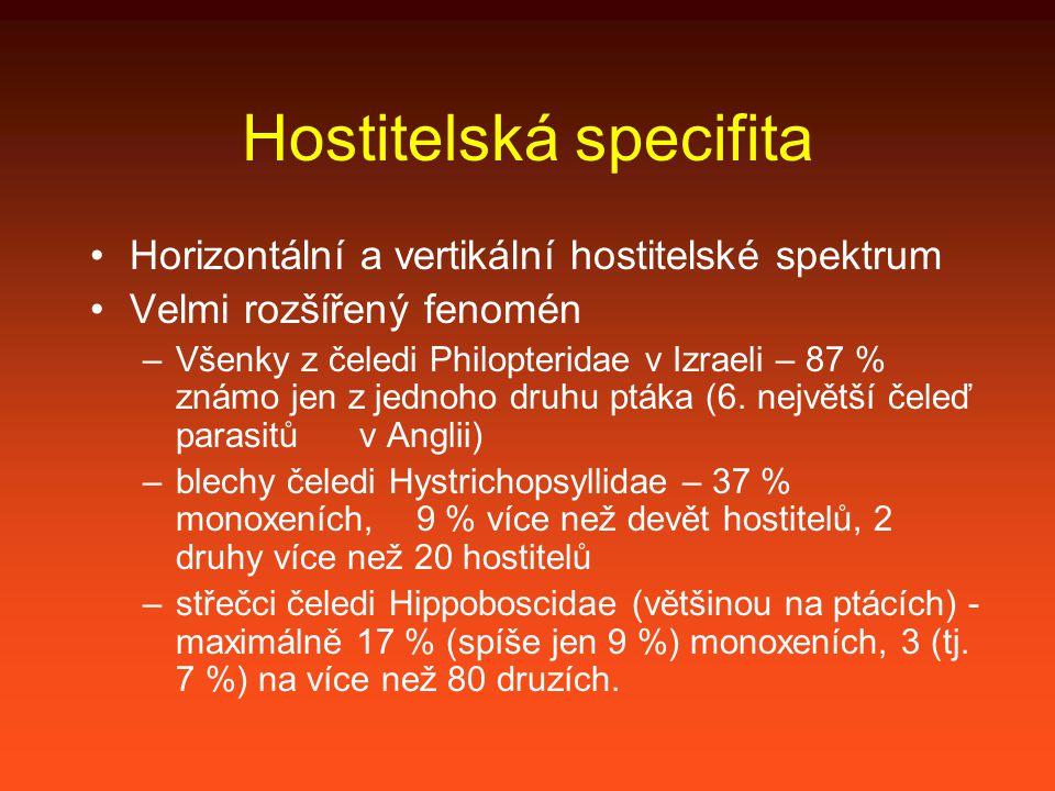 Hostitelská specifita Horizontální a vertikální hostitelské spektrum Velmi rozšířený fenomén –Všenky z čeledi Philopteridae v Izraeli – 87 % známo jen z jednoho druhu ptáka (6.