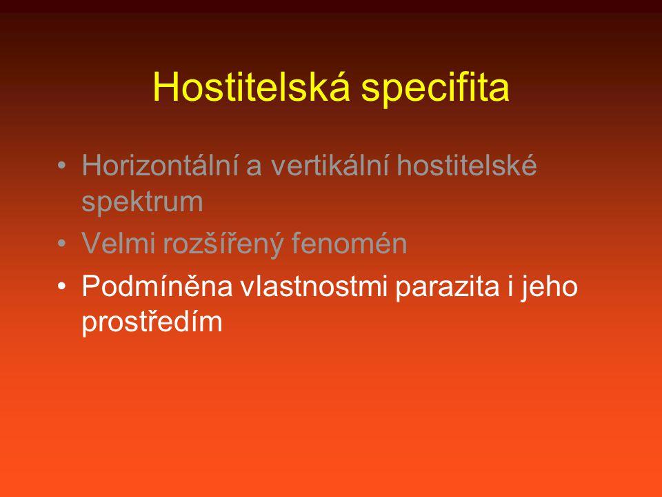 Hostitelská specifita Horizontální a vertikální hostitelské spektrum Velmi rozšířený fenomén Podmíněna vlastnostmi parazita i jeho prostředím Snadno podléhá mikroevoluci