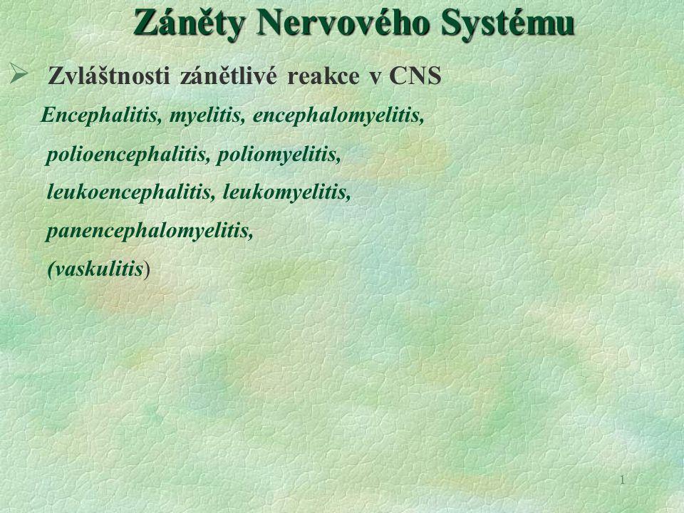 1 Záněty Nervového Systému  Zvláštnosti zánětlivé reakce v CNS Encephalitis, myelitis, encephalomyelitis, polioencephalitis, poliomyelitis, leukoence