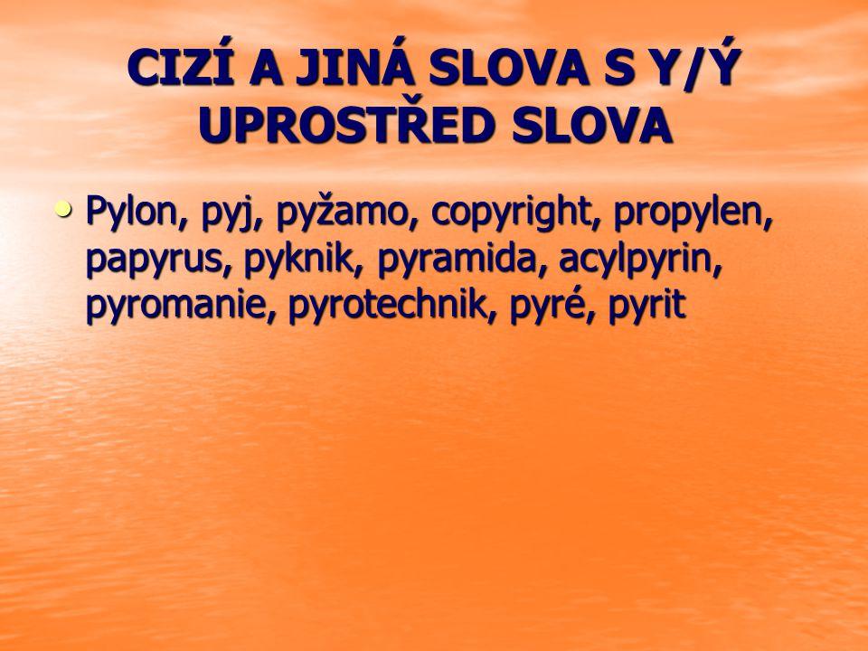 CIZÍ A JINÁ SLOVA S Y/Ý UPROSTŘED SLOVA Pylon, pyj, pyžamo, copyright, propylen, papyrus, pyknik, pyramida, acylpyrin, pyromanie, pyrotechnik, pyré, p