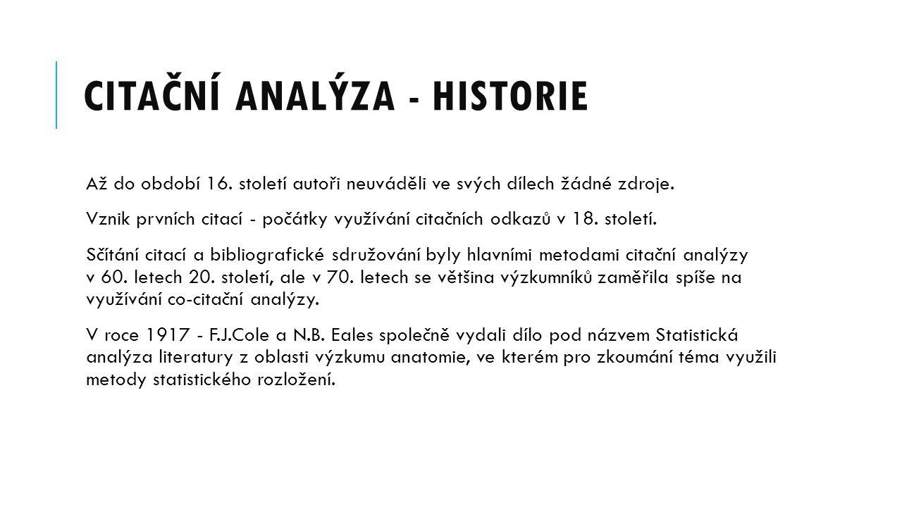 CITAČNÍ ANALÝZA - HISTORIE Až do období 16. století autoři neuváděli ve svých dílech žádné zdroje. Vznik prvních citací - počátky využívání citačních
