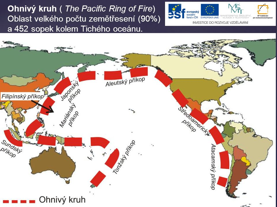 Ohnivý kruh ( The Pacific Ring of Fire) Oblast velkého počtu zemětřesení (90%) a 452 sopek kolem Tichého oceánu.