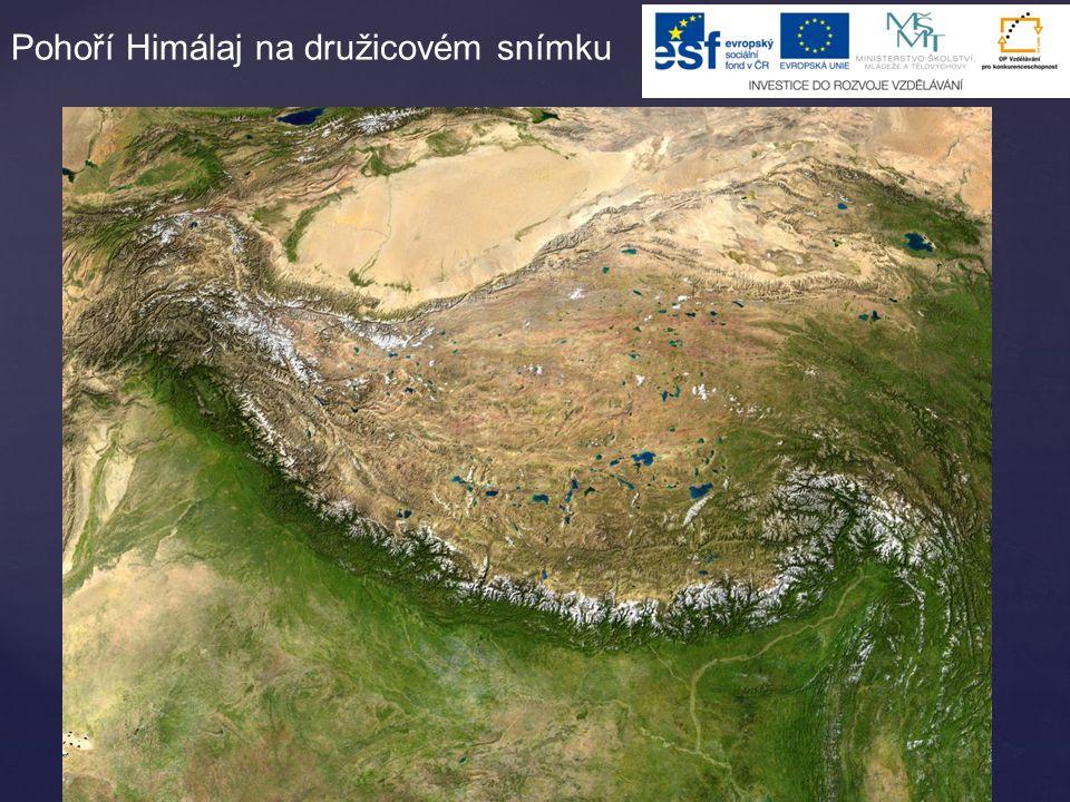 Pohoří Himálaj na družicovém snímku