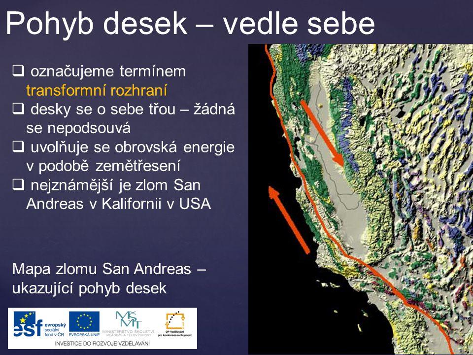 Letecký snímek zlomu San Andreas.