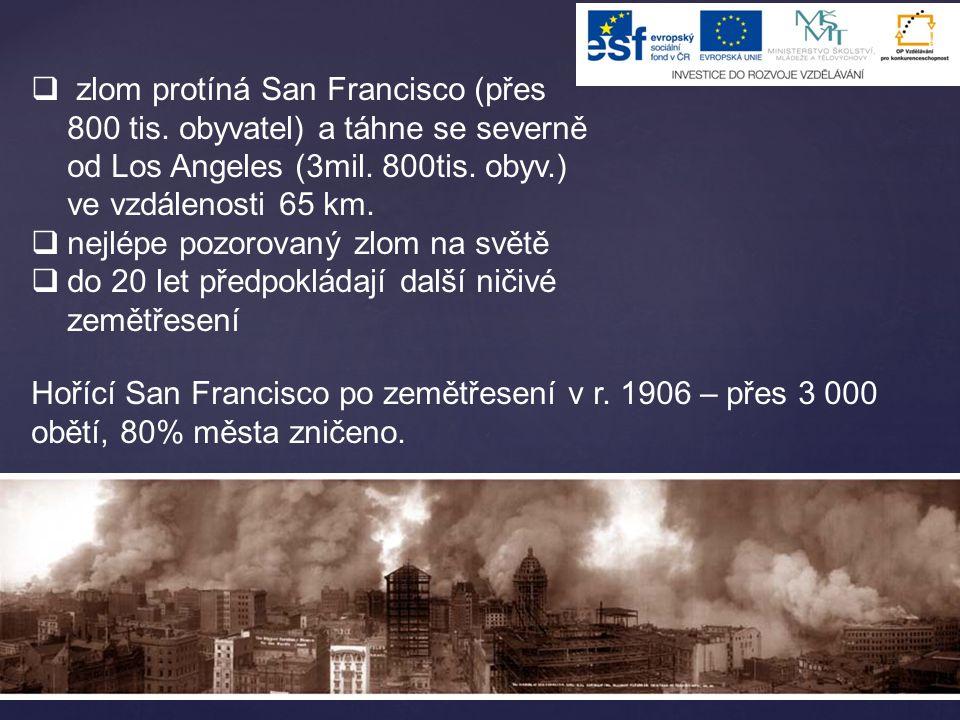  zlom protíná San Francisco (přes 800 tis. obyvatel) a táhne se severně od Los Angeles (3mil. 800tis. obyv.) ve vzdálenosti 65 km.  nejlépe pozorova
