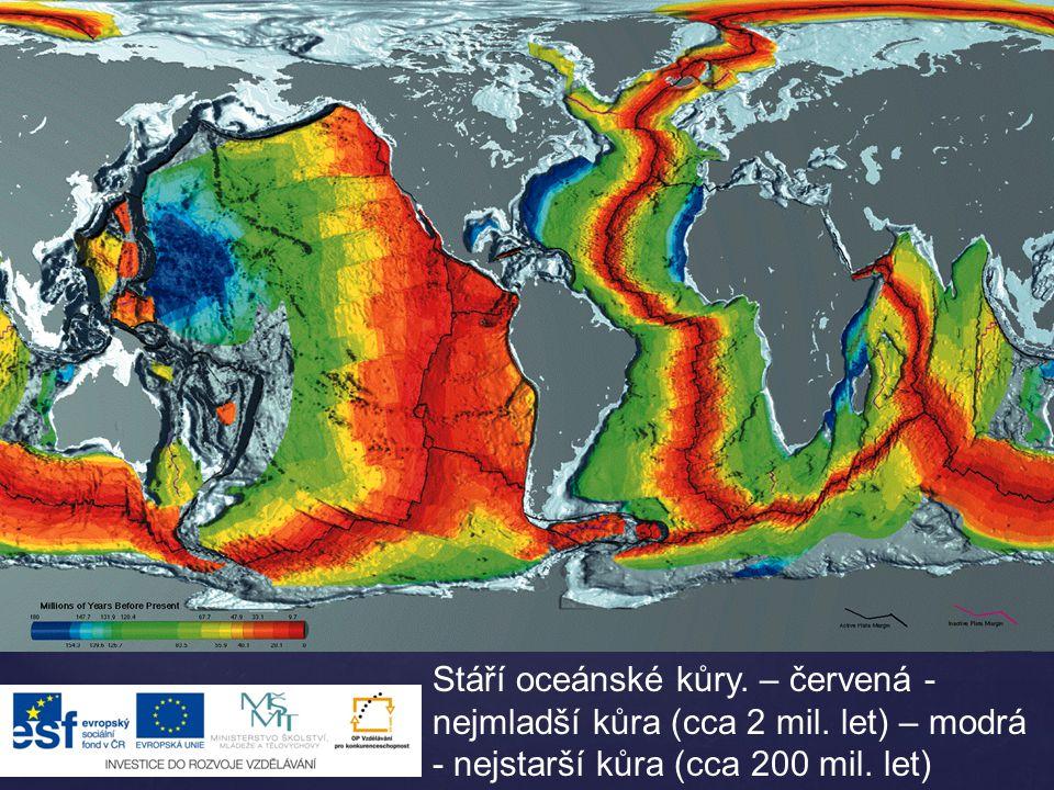 Stáří oceánské kůry. – červená - nejmladší kůra (cca 2 mil. let) – modrá - nejstarší kůra (cca 200 mil. let)