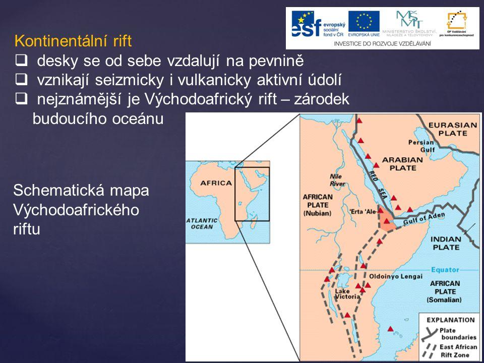 Kontinentální rift  desky se od sebe vzdalují na pevnině  vznikají seizmicky i vulkanicky aktivní údolí  nejznámější je Východoafrický rift – zárod