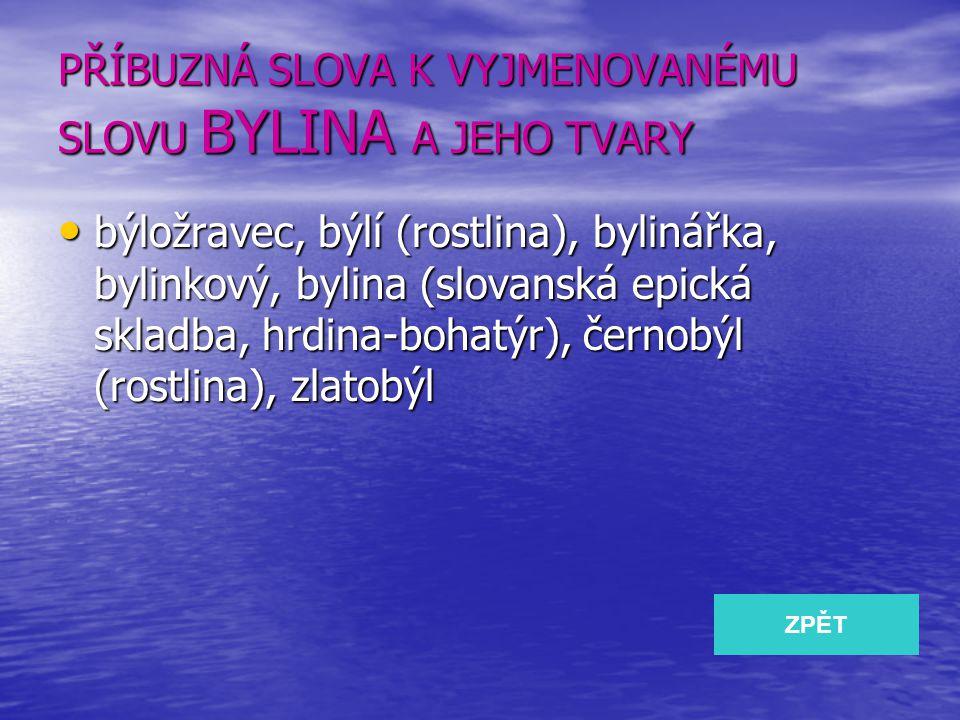 PŘÍBUZNÁ SLOVA K VYJMENOVANÉMU SLOVU BYLINA A JEHO TVARY býložravec, býlí (rostlina), bylinářka, bylinkový, bylina (slovanská epická skladba, hrdina-b