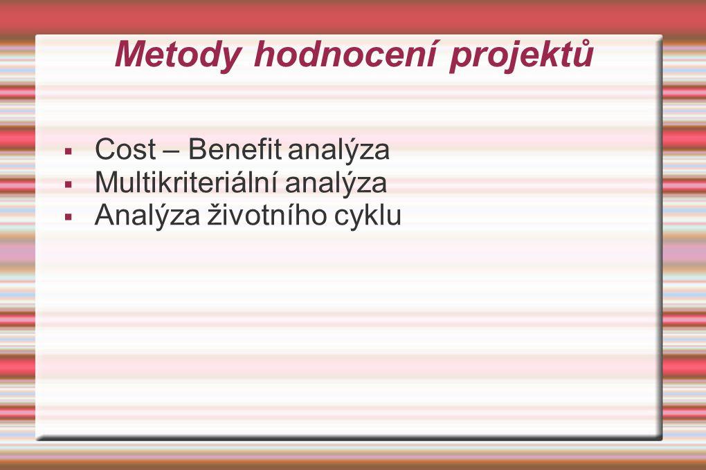 Metody hodnocení projektů  Cost – Benefit analýza  Multikriteriální analýza  Analýza životního cyklu
