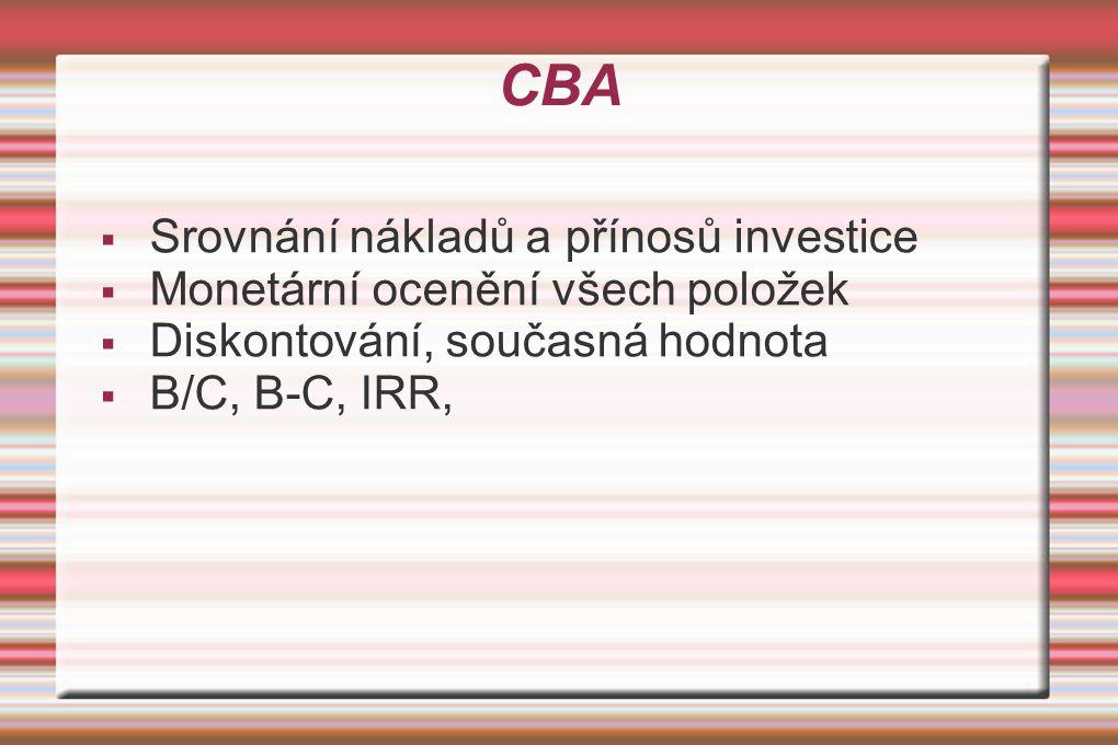 CBA  Srovnání nákladů a přínosů investice  Monetární ocenění všech položek  Diskontování, současná hodnota  B/C, B-C, IRR,