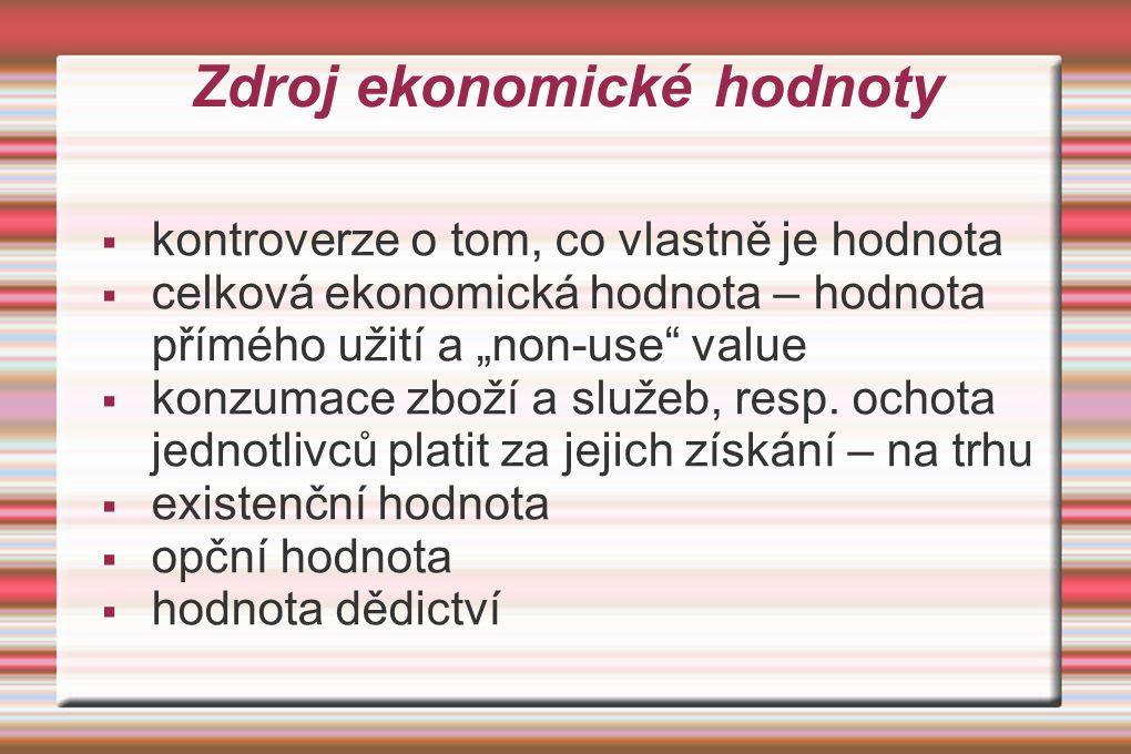 """Zdroj ekonomické hodnoty  kontroverze o tom, co vlastně je hodnota  celková ekonomická hodnota – hodnota přímého užití a """"non-use"""" value  konzumace"""