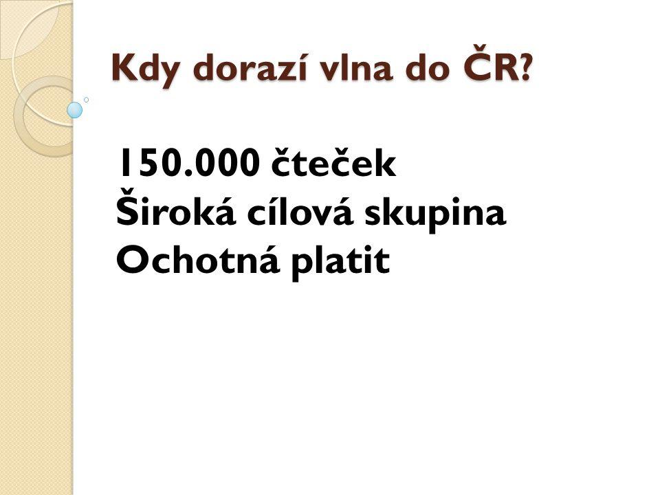 150.000 čteček Široká cílová skupina Ochotná platit Kdy dorazí vlna do ČR