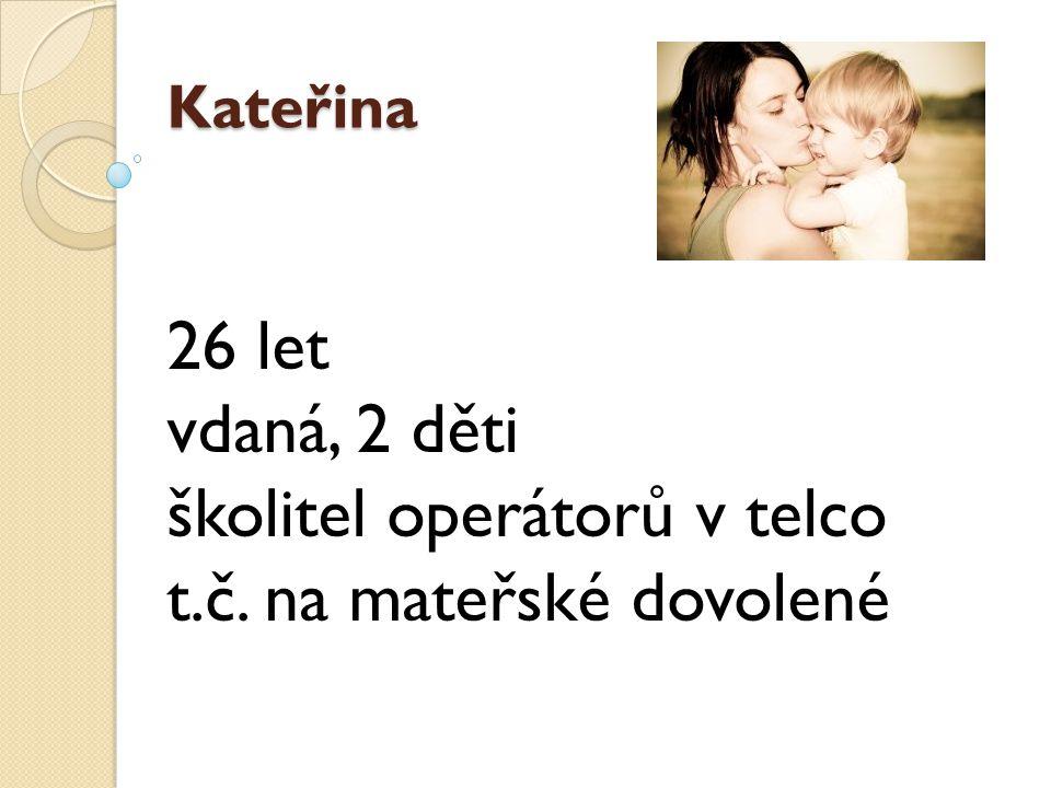 Kateřina 26 let vdaná, 2 děti školitel operátorů v telco t.č. na mateřské dovolené
