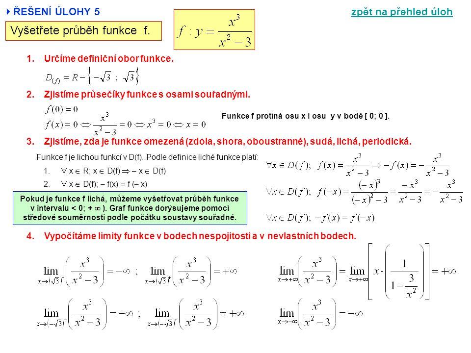  ŘEŠENÍ ÚLOHY 5 Vyšetřete průběh funkce f. 1.Určíme definiční obor funkce. 2.Zjistíme průsečíky funkce s osami souřadnými. 3.Zjistíme, zda je funkce