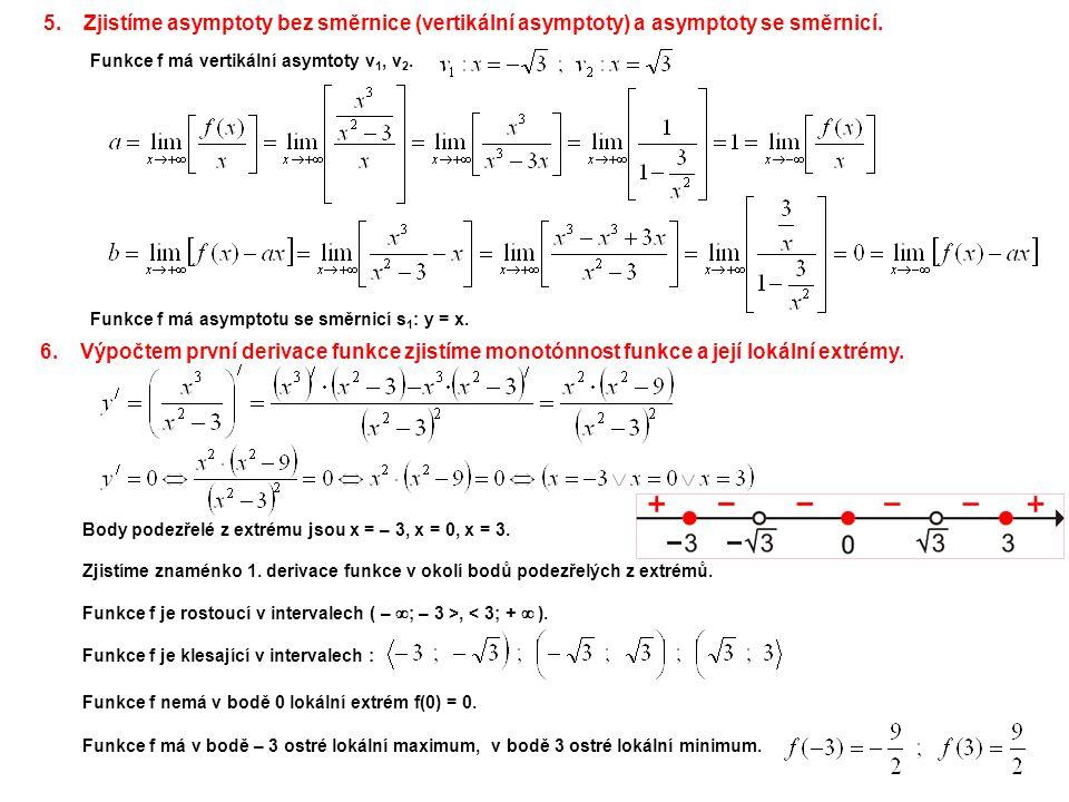 6.Výpočtem první derivace funkce zjistíme monotónnost funkce a její lokální extrémy. Funkce f je klesající v intervalech : Body podezřelé z extrému js
