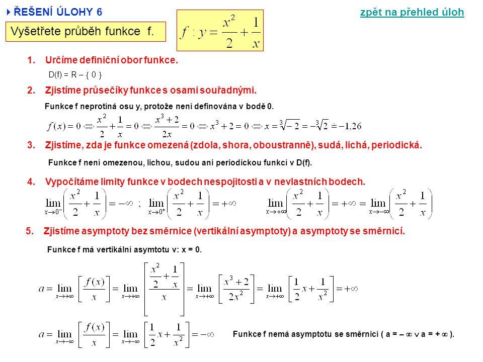  ŘEŠENÍ ÚLOHY 6 Vyšetřete průběh funkce f. 1.Určíme definiční obor funkce. 2.Zjistíme průsečíky funkce s osami souřadnými. 3.Zjistíme, zda je funkce