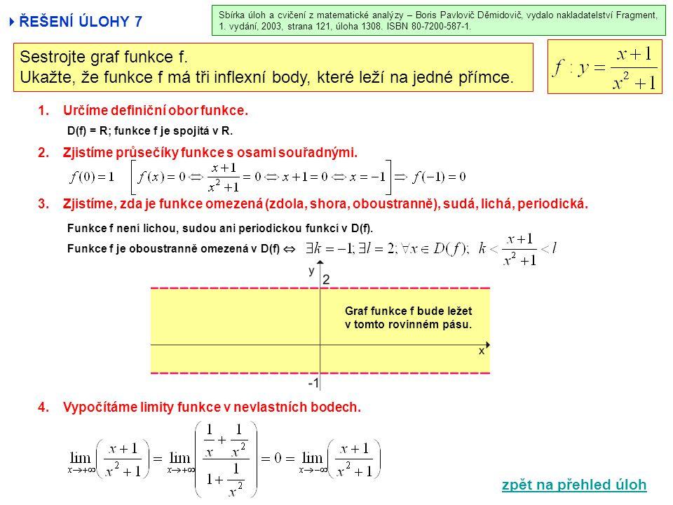  ŘEŠENÍ ÚLOHY 7 1.Určíme definiční obor funkce. 2.Zjistíme průsečíky funkce s osami souřadnými. 3.Zjistíme, zda je funkce omezená (zdola, shora, obou