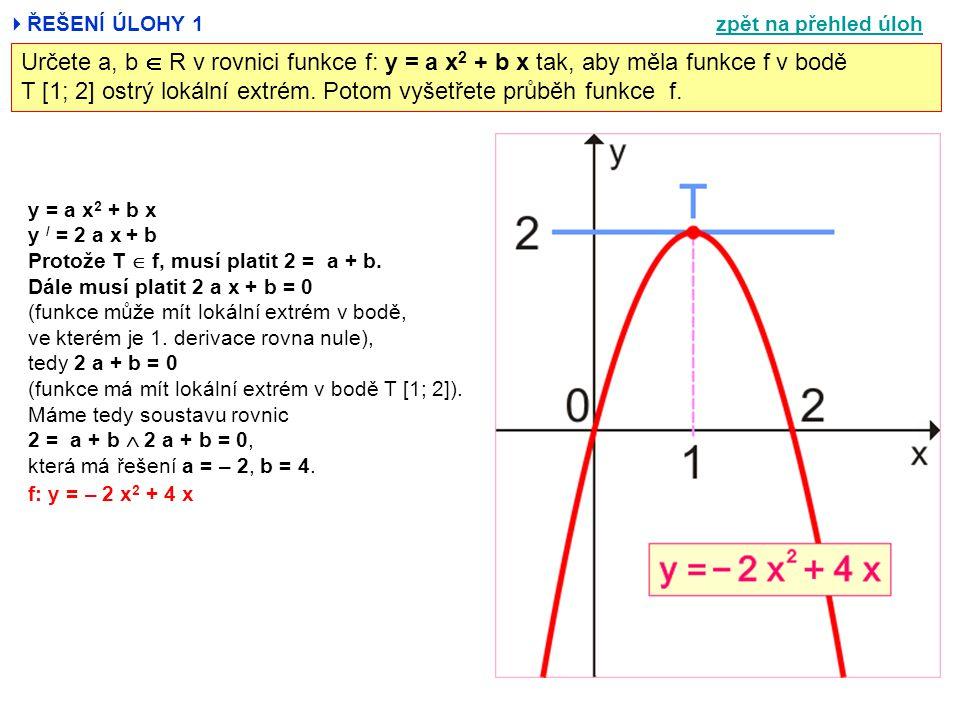  ŘEŠENÍ ÚLOHY 1 Určete a, b  R v rovnici funkce f: y = a x 2 + b x tak, aby měla funkce f v bodě T [1; 2] ostrý lokální extrém. Potom vyšetřete průb