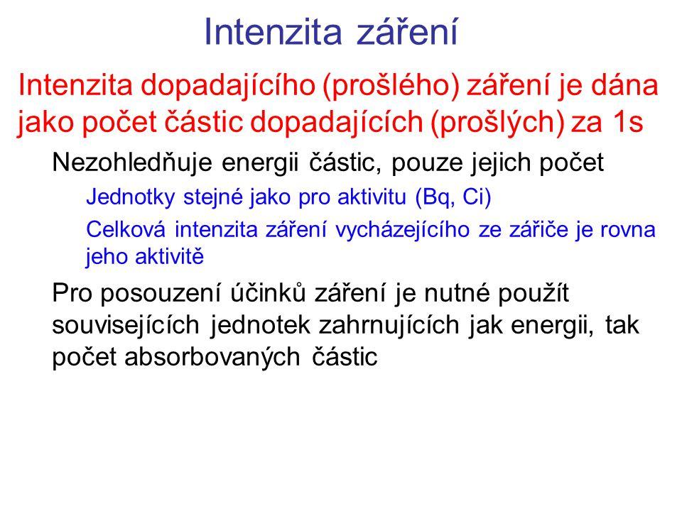 Intenzita záření Intenzita dopadajícího (prošlého) záření je dána jako počet částic dopadajících (prošlých) za 1s Nezohledňuje energii částic, pouze j