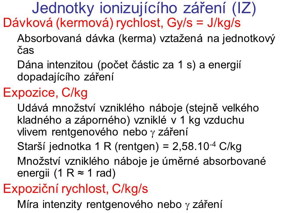 Jednotky ionizujícího záření (IZ) Dávková (kermová) rychlost, Gy/s = J/kg/s Absorbovaná dávka (kerma) vztažená na jednotkový čas Dána intenzitou (poče