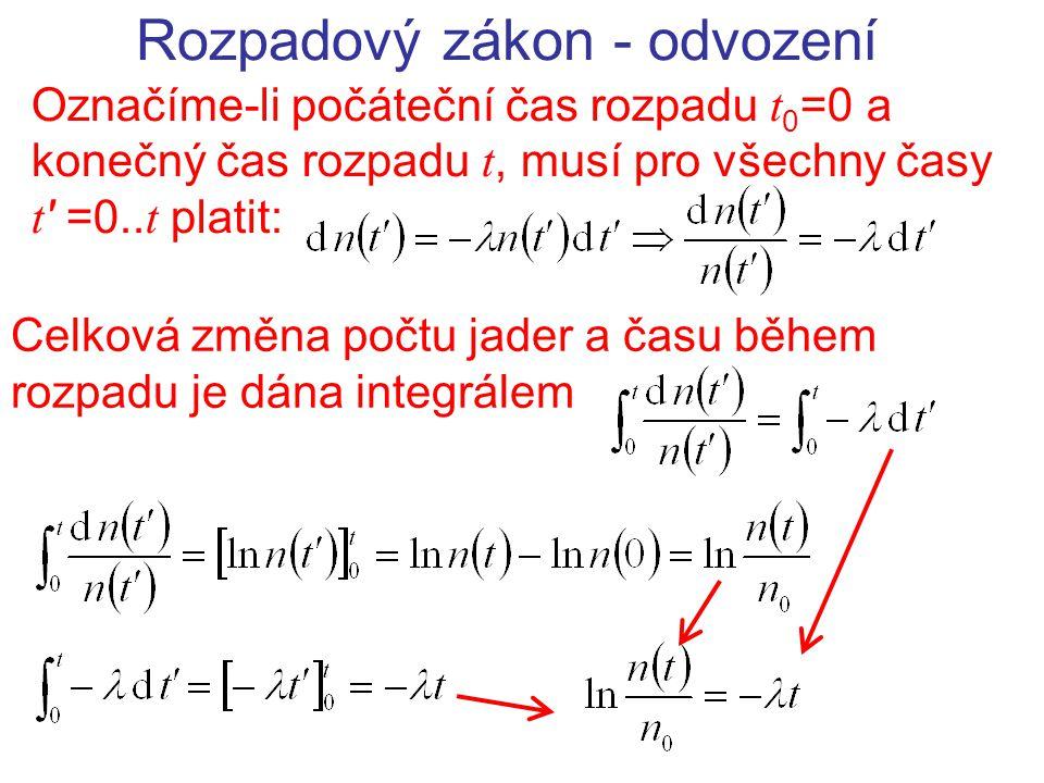 Rozpadový zákon - odvození Označíme-li počáteční čas rozpadu t 0 =0 a konečný čas rozpadu t, musí pro všechny časy t ' =0.. t platit: Celková změna po