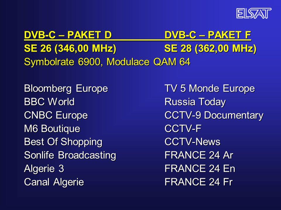 DVB-C – PAKET D DVB-C – PAKET F SE 26 (346,00 MHz) SE 28 (362,00 MHz) Symbolrate 6900, Modulace QAM 64 Bloomberg EuropeTV 5 Monde Europe BBC World Rus