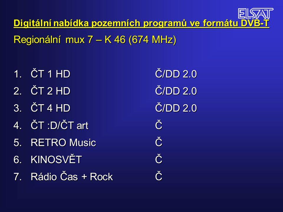 Digitální nabídka pozemních programů ve formátu DVB-T Regionální mux 7 – K 46 (674 MHz) 1. ČT 1 HDČ/DD 2.0 2. ČT 2 HDČ/DD 2.0 3. ČT 4 HDČ/DD 2.0 4. ČT