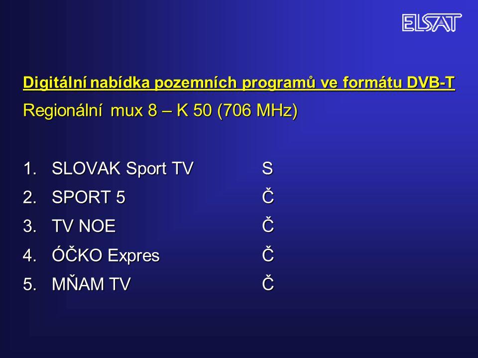 Digitální nabídka pozemních programů ve formátu DVB-T Regionální mux 8 – K 50 (706 MHz) 1. SLOVAK Sport TVS 2. SPORT 5Č 3. TV NOEČ 4. ÓČKO ExpresČ 5.