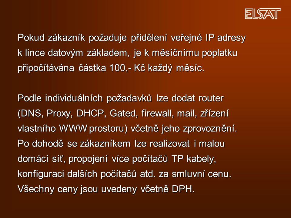 Pokud zákazník požaduje přidělení veřejné IP adresy k lince datovým základem, je k měsíčnímu poplatku připočítávána částka 100,- Kč každý měsíc. Podle