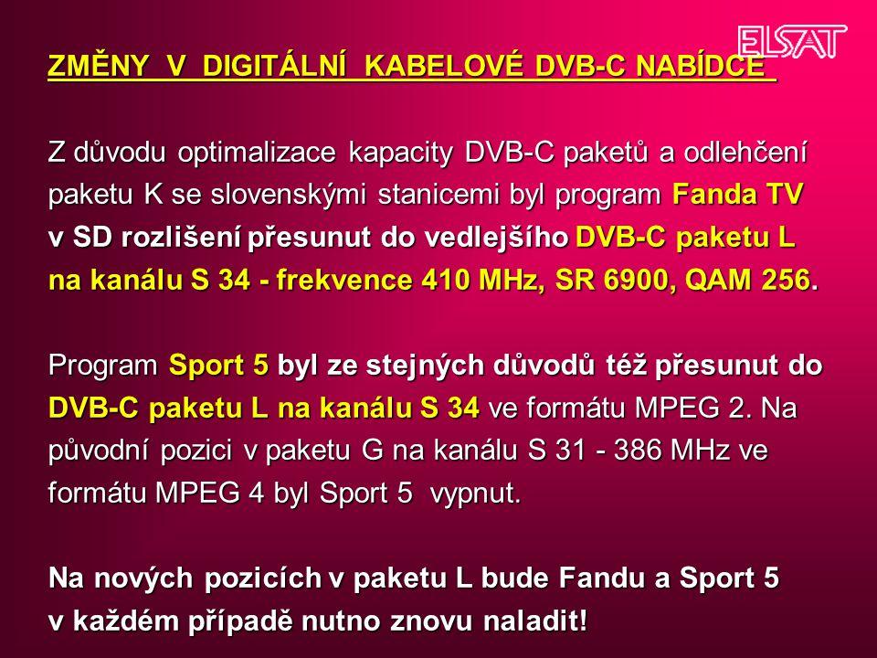 ZMĚNY V DIGITÁLNÍ KABELOVÉ DVB-C NABÍDCE Z důvodu optimalizace kapacity DVB-C paketů a odlehčení paketu K se slovenskými stanicemi byl program Fanda T