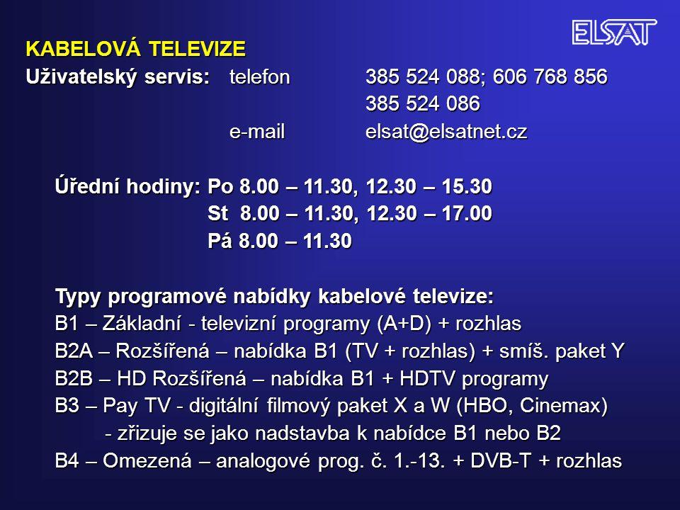 CENÍK SLUŽEB KABELOVÉ TELEVIZE Platný od 1.1.