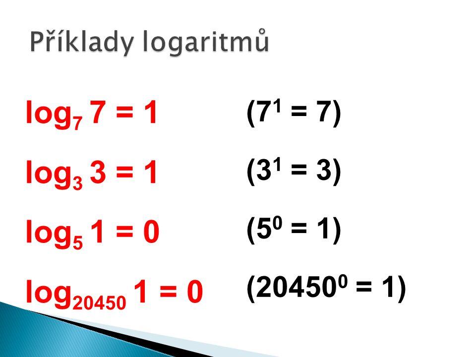 log 7 7 = 1 log 3 3 = 1 log 5 1 = 0 log 20450 1 = 0 (7 1 = 7) (3 1 = 3) (5 0 = 1) (20450 0 = 1)