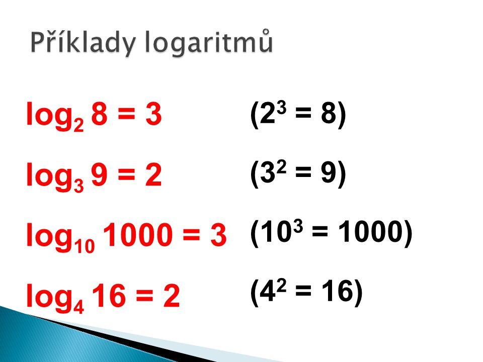 log 2 8 = 3 log 3 9 = 2 log 10 1000 = 3 log 4 16 = 2 (2 3 = 8) (3 2 = 9) (10 3 = 1000) (4 2 = 16)