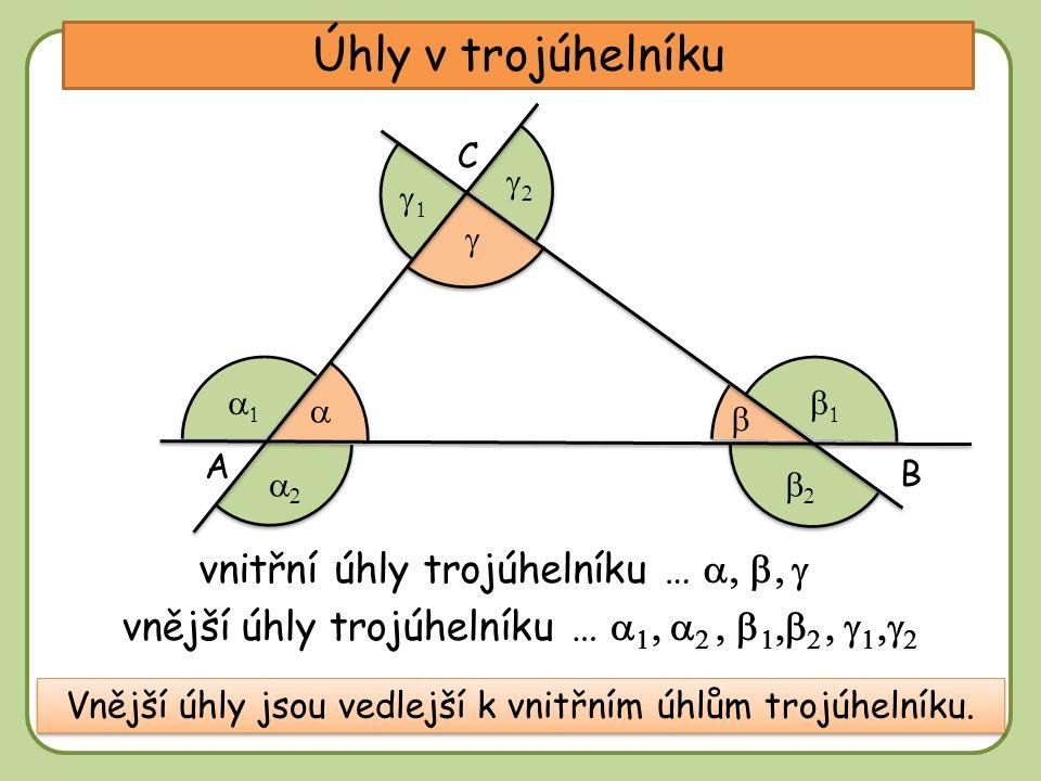 DD Úhly v trojúhelníku A C vnitřní úhly trojúhelníku …  B          vnější úhly trojúhelníku …             Vnější úhly jsou vedlejší k vnitřním úhlům trojúhelníku.