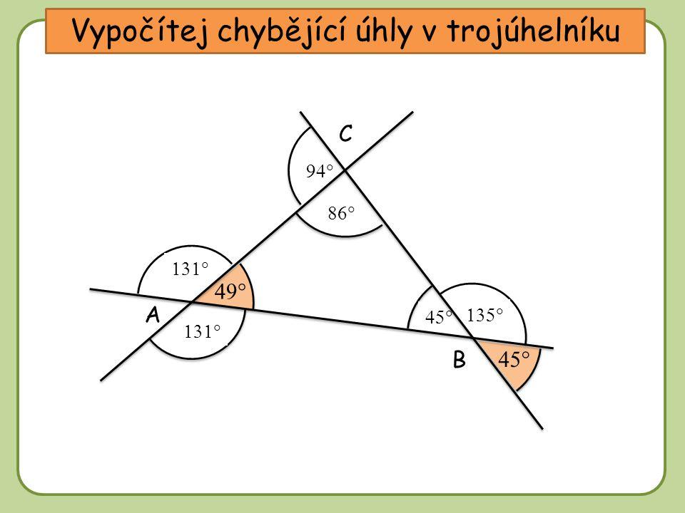 DD Vypočítej chybějící úhly v trojúhelníku A C B             