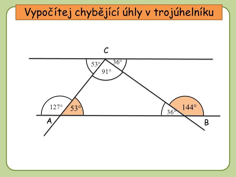 DD A C B      Vypočítej chybějící úhly v trojúhelníku       
